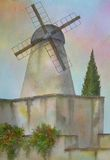 Windmill, Jerusalem, Israel. Digitally photographed image of an original watercolor (on 100% cotton & hand made paper), about a famous Windmill, located & still Royalty Free Stock Photo