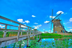 Windmill in Kinderdijk, Holland Royalty Free Stock Images
