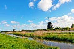 Windmill in Kinderdijk, Holland Stock Photo
