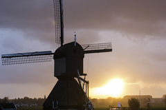 Windmill in Kinderdijk in Holland Royalty Free Stock Image