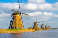 Ancient windmils near Kinderdijk. Royalty Free Stock Image