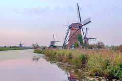 Windmill in Kinderdijk Royalty Free Stock Image