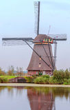 Windmill in Kinderdijk in vertical Royalty Free Stock Images