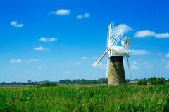 Windmill landscape. Norfolk broads, England Royalty Free Stock Photography