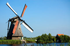 Windmill landscape. Beautiful windmill landscape at kinderdijk in the netherlands Royalty Free Stock Photos