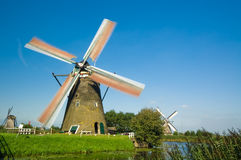 Windmill landscape. Beautiful windmill landscape at kinderdijk in the netherlands Royalty Free Stock Image