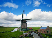 Windmill landscape. Beautiful windmill landscape near the IJsselmeer in the netherlands Royalty Free Stock Photography