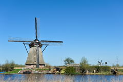 Windmill landscape at Kinderdijk The Netherlands Royalty Free Stock Photos