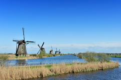 Windmill landscape at Kinderdijk The Netherlands Stock Photography