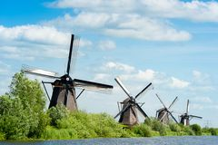 Windmill landscape at Kinderdijk The Netherlands. Windmill landscape at Kinderdijk near Rotterdam The Netherlands Stock Image