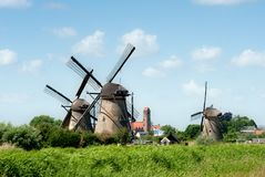 Windmill landscape at Kinderdijk The Netherlands Stock Images