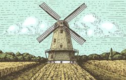 Windmill landscape in vintage, retro hand drawn or engraved style, can be use for bakery logo, wheat field with old Stock Photography