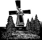 Windmill Landscape. Woodcut style image of a old style dutch windmill in a rural landscape Royalty Free Stock Photography