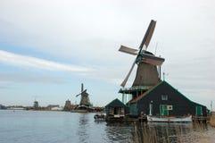 Windmill landscape in Zaanse Schans Stock Photography
