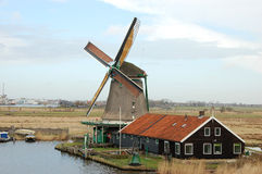 Windmill landscape in Zaanse Schans Royalty Free Stock Photography