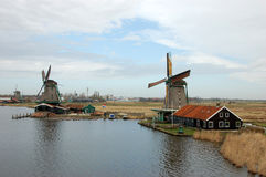 Windmill landscape in Zaanse Schans Stock Photography
