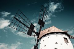Historical windmill in Lanzarote, Canary islands. Royalty Free Stock Photo