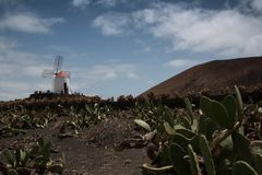 Historical windmill in Lanzarote, Canary islands. Stock Photos