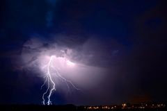 Lightning bolt. Lightning and thunderstorm with rain in the night near emmen, drenthe Stock Images