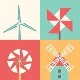 Windmill linear flat icons. Wind energy cartoon vector illustration Royalty Free Stock Photos