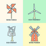Windmill linear logo set. Eco friendly wind force sustainable energy signs Stock Photos