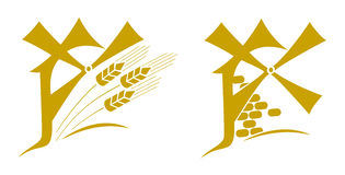 Windmill, logo, emblem with ears of wheat Royalty Free Stock Image