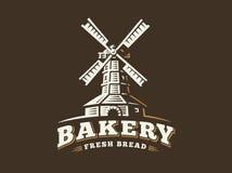 Windmill logo - vector illustration. Bakery emblem on dark background Royalty Free Stock Images