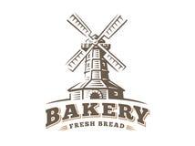 Windmill logo - vector illustration. Bakery emblem on white background Royalty Free Stock Photography