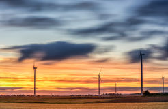 Windmill with Long Exposure Evning Cloudy Sky. Royalty Free Stock Photography