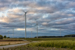 Windmill with Long Exposure Evning Cloudy Sky. Royalty Free Stock Images