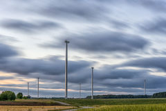 Windmill with Long Exposure Evning Cloudy Sky. Stock Photography