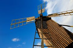 Windmill low angle view Royalty Free Stock Image