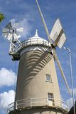 Windmill. Machine that converts the energy of wind into rotational energy by means of vanes called sails or blades Royalty Free Stock Images