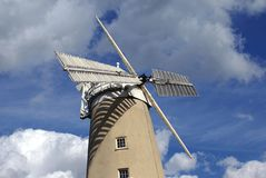 Windmill. Machine that converts the energy of wind into rotational energy by means of vanes called sails or blades Stock Photo