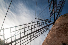 Windmill in Mallorca, the blades of the mill Royalty Free Stock Images