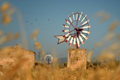 Windmill, Mallorca. Windmill near Campos, Mallorca. Spain Royalty Free Stock Photography