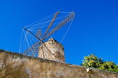 Windmill in Mallorca. Palma de Mallorca, Spain. One of the symbols of Majorca is windmills. You can find them mainly in the most fertile part of the island of Royalty Free Stock Images