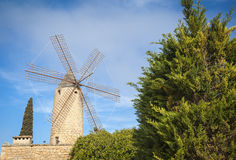 Windmill in Mallorca. Traditional old windmill of Mallorca Stock Images