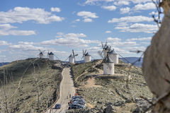 Windmill, medieval castle town of Consuegra in Toledo, Spain Royalty Free Stock Image