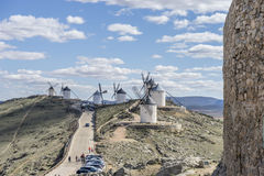 Windmill, medieval castle town of Consuegra in Toledo, Spain Stock Photos