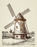 Windmill, mill or bakery. Vintage hand drawn illustration Royalty Free Stock Photography