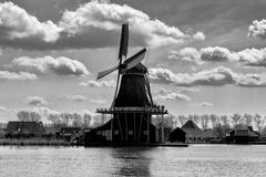 Dutch windmill, Amsterdam countryside, Netherlands royalty free stock images