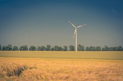 Windmill with beautiful grain fields in front. A windmill is a mill that converts the energy of wind into rotational energy by means of vanes called sails or Stock Photos