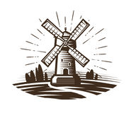 Windmill, mill logo or label. Farm, agriculture, bakery, bread icon. Vintage vector illustration Stock Photo
