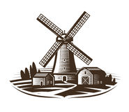 Windmill, mill logo or label. Farm, rural landscape, agriculture, bakery, bread icon. Vintage vector illustration. Isolated on white background royalty free illustration