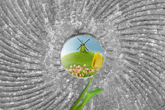 Windmill in a Mill Stone Hole. Spring scene with a windmill on a hill by a tulip field, through the hole of a mill stone stock image