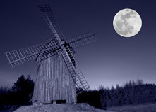 Windmill and moon Stock Photo
