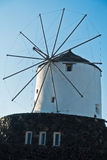 Windmill in a mountain village at Santorini island Stock Image