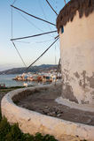 Windmill of Mykonos on background of Little Venice Stock Image