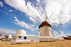 Windmill in Mykonos, Greece. Famous windmill in Mykonos Greece royalty free stock photos